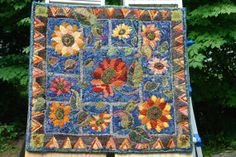 Traditional Hooked Rug Sunflower Pattern by WooleyMtnRugWorks, $950.00