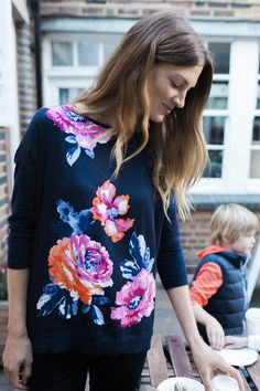 punchy floral ~ Dressed up or dressed down, our Kitty Jumper is sure to keep every day essentials on the smarter side of casual. Shop via link in the bio. Joules Clothing, Spring Fashion, Jumper, Floral Tops, Dress Up, Women Wear, Clothes For Women, Elegant, My Style