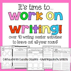 I created these activities for my students to use in the writing center. They love to write friends' names, word wall words, make their own lists, and more! All these activities are independent and fun! This packet contains 47 different writing activities Writing Center Kindergarten, Kindergarten Reading, Teaching Writing, Writing Activities, Writing Centers, Literacy Centers, Teaching Ideas, Learning Centers, Writing Strategies