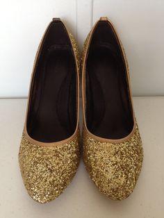 Upcycled Gold Glittered High Heels by inhabitedbygod on Etsy, $18.35