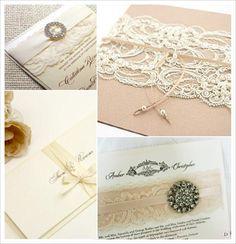 decoration mariage baroque faire part ivoire boucle strass dentelle perle