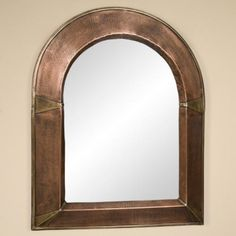 Arched Lightly Hammered Copper Mirror - Antique Copper - Bathroom Mirrors - Bathroom
