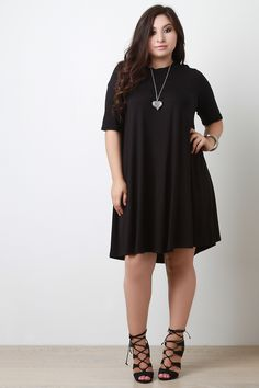 Plus Size Half Sleeve Shift Dress | UrbanOG