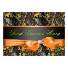 Orange Formal Camo Wedding Invitation