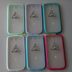 harry potter Samsung Galaxy S3 case,phone cover, blue-green color frosted translucent Samsung Galaxy S3 case with a Deathly Hallows on Etsy, $13.99