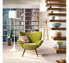 John Lewis interior.  Love the acid green pop from the chair and accessories