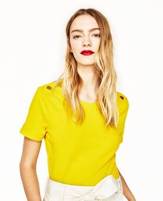 b5a31c50a5435 Image 2 of METALLIC BUTTON T-SHIRT from Zara Yellow T Shirt