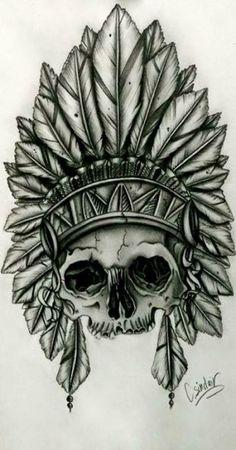 Artículos similares a Native American Indian skull with feather head dress en E Trendy Tattoos, Cute Tattoos, Leg Tattoos, Arm Tattoo, Body Art Tattoos, Tattoo Ink, Sleeve Tattoos, Tatoos, Native American Tattoos