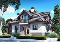 DOM.PL™ - Projekt domu DM Śnieżka K CE - DOM GM2-59 - gotowy koszt budowy Beautiful House Plans, Beautiful Homes, Civil Construction, Grand Entrance, Exterior House Colors, Home Fashion, Floor Plans, House Design, Flooring