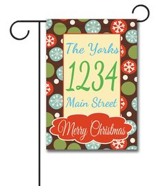 """Merry Christmas Snowflakes –  Flag Size: 12.5"""" x 18"""" Flag stand sold separately Proudly Printed in the USA Vibrant colors printed on a poly/cotton outdoor quality fabric. Digitally printed on both sides of the fabric. Two fabric options given at checkout."""