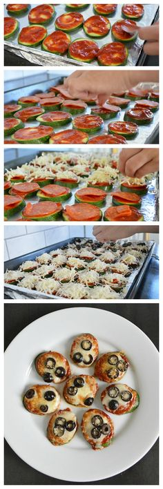 Great Zuke Bites: easy mini pizzas made from zucchini! (if you eat raw dairy) Healthy Cooking, Healthy Snacks, Healthy Eating, Vegetable Recipes, Vegetarian Recipes, Low Carb Recipes, Cooking Recipes, Zucchini Pizza Bites, Mini Pizzas