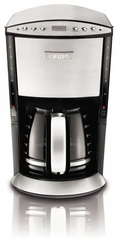 KRUPS Programmable Coffee Maker with Glass Carafe and LCD screen, Stainless Steel - - Krups appliances bring the perfect balance of intelli Coffee Maker Reviews, Best Coffee Maker, Drip Coffee Maker, Espresso Maker, Espresso Cups, Coffee Making Machine, Coffee Machines, Stainless Steel Coffee Maker, Mugs