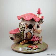 Keramik Haus Windlicht Tischlampe  von Keramik-Fleury auf DaWanda.com