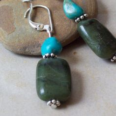riverpebble stonewear ~ handmade jewelry - TRANQUILITY- Nephrite Jade Earrings with Turquoise