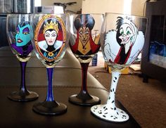 Hey, I found this really awesome Etsy listing at https://www.etsy.com/listing/176977613/four-hand-painted-disney-character-wine