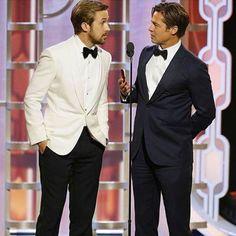 Elegance at Golden Globe… #ryangosling #bradpitt #goldenglobe