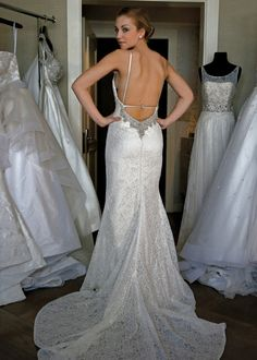 Eugenia Couture Spring 2015 Bridal Runway Collection #weddingdress #crystalbeading #openback #sexyweddingdress #sexy #sheath