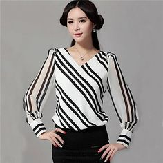 Women's V Neck Blouse , Chiffon Long Sleeve Work Fashion, Modest Fashion, Fashion Women, Style Fashion, Casual Outfits, Cute Outfits, Corsage, Blouses For Women, Clothes
