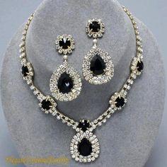 Regal Black Crystal Necklace Set
