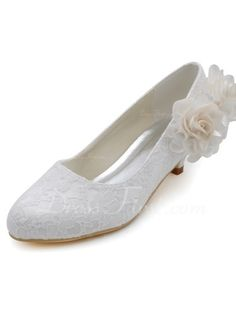 Women s Lace Cone Heel Closed Toe Pumps With Satin Flower (047039731).  White Bridal ShoesBridal ... 19aeb4976b17