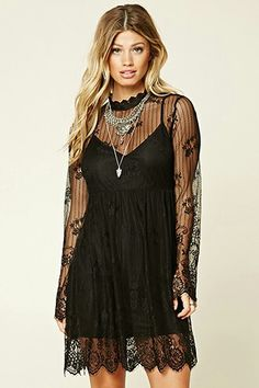 Forever 21 Contemporary - A semi-sheer knit lace mini dress featuring an illusion neckline, an underlayer with adjustable spaghetti straps, scalloped eyelash lace trim, and a button keyhole back. Lace Knitting, Knit Lace, Rocker Chic, Dressed To Kill, Skater Dress, Lace Trim, Korean Fashion, What To Wear, Ready To Wear