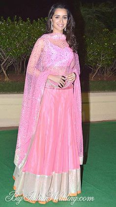 In Beautiful Pink lehenga , Shraddha Kapoor at Vishesh Bhatt and Kanika's  Wedding and Reception