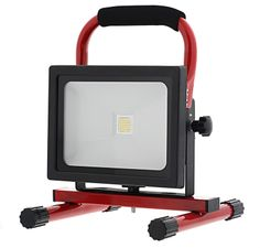 20 Watt Portable High Powered Rechargeable LED Work Light with 1 x 20 Watt High Power Cool White COB (Chip-on-board) LED. Produces up to 1800 lumens with wide flood 120 degree beam pattern. Built-in rechargeable Lithium ion battery.Weatherproof aluminum housing with tempered glass lens, charging indicator, and weatherproof switch. Includes fully adjustable steel tube stand with padded grip, charger/power cable with cigarette lighter adapter plug, and 100-240VAC charger/power supply.