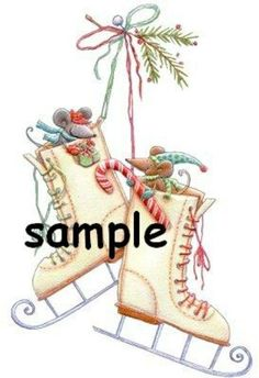 Christmas Ice Skate Stocking mice old fashion Holiday Custom Personalized Address Labels