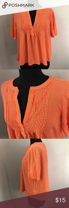 Orange Old Navy Blouse - L Adorable and fun blouse from Old Navy is orange with white flowers. This size large top has elbow length sleeves and a v neck. Perfect for summer and ready to ship from a non smoking home. Old Navy Tops Blouses