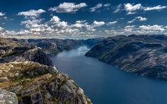 Télécharger fonds d'écran En norvège, les montagnes, le Lysefjord, de falaises, de Preikestolen