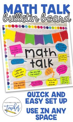 "This is a simple Math Talk bulletin board display to put up in your classroom.  You get a ""Math Talk"" title and 12 though bubbles with sentence starters to help your students facilitate ""math talk.""  Just print everything out on your desired color of paper and voila! You've got a math board."