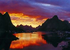 Midnight Sun on a glass fjord in Norway. It's stunning and I want to see it again. #Norway ☮k☮ #Norge