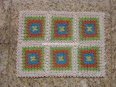 Falando de Crochet - Gráficos: TAPETE QUADRADINHOS DE CROCHE EM PONTOS ALTOS SOBREPOSTOS - PONTO REDE DE PONTO ALTO (SQUARES)