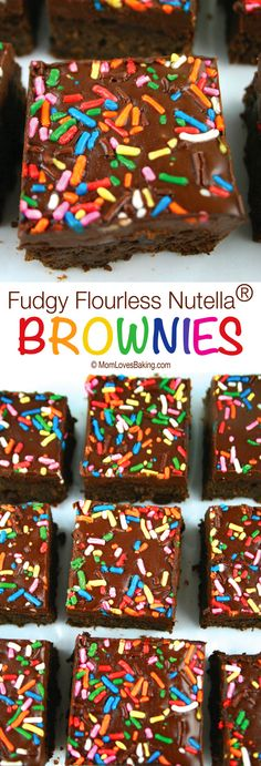 Fudgy Flourless Nutella® Brownies are delicious, gluten free brownies made with a secret ingredient; topped with chocolate hazelnut spread and sprinkles. (Pssst... don't tell but there's black beans in this recipe.)