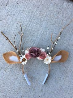 Deer Headband with Flowers & Antlers- Deer Costume-Fits Kids .- Deer Headband with Flowers & Antlers- Deer Costume-Fits Kids and Adults-Halloween, Music Festivals, Birthday, Photo Props Deer headband with flowers & deer antler costume-matching Halloween Music, Halloween Birthday, Birthday Crafts, Easy Halloween, Halloween Stuff, Deer Costume For Kids, Baby Deer Costume, Little Girl Halloween Costumes, Costume Halloween