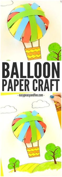 A fun textured craft for kindergartners this spring… Hot Air Balloon Paper Craft! A fun textured craft for kindergartners this spring! A fun textured craft for kindergartners this spring… Source by Paper Crafts For Kids, Craft Activities For Kids, Preschool Activities, Easy Crafts, Craft Ideas, Hot Air Balloon Paper, Hot Air Balloon Craft For Kids, Transportation Crafts, Paper Toy