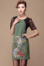 Green Contrast Lace Short Sleeve Zipper Embroidery Dress - Sheinside.com