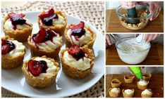 Receita passo a passo: mini cheesecakes de cerejas sem cozimento!!!  :)