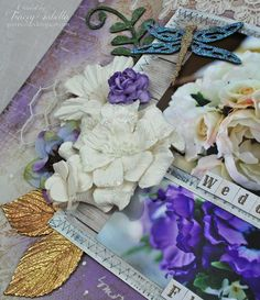 """Wedding Flowers"" Mixed Media Layout by Tracey Sablla for Helmar and Leaky Shed Studio: Glittered Spring Butterfly"