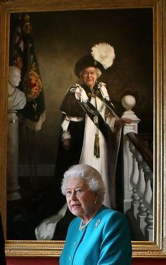 Her Majesty with the newest portrait of her. July 2016