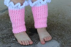 Crochet Pink and White BabyToddler Leg Warmers by SisterHippies, $6.00