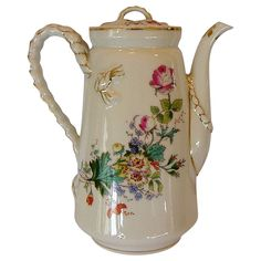 Awesome Limoges Porcelain Tea / Coffee Pot with a Floral Bouquet and Rope Handle ~ Haviland & co 1888-1896
