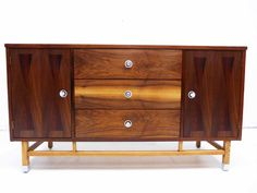 Stanley Mid-Century Credenza or Dresser   Rosewood Banding and Hourglass Inlay   Refinished