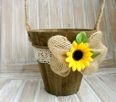 Flower girl basket Rustic Flower Girl Basket Sunflower Wedding Basket Country Wedding Flower girl Pale Rustic wooden basket by VesyArtstudio on Etsy https://www.etsy.com/listing/285541835/flower-girl-basket-rustic-flower-girl