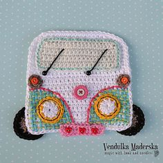Funny pattern of crochet car / camper coaster not only for your holiday :-) Great DIY gift for the mens. *This is a crochet pattern and not the Crochet Coaster Pattern, Crochet Motif, Crochet Shawl, Free Crochet, Poncho Patterns, Crochet Appliques, Crochet Pillow, Crochet Beanie, Crafts