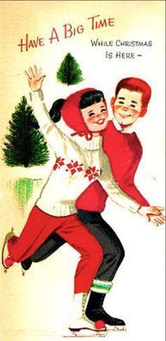 Boy and girl at Christmas..