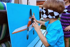 pin the propeller on the plane game | to pin propellers made from craft foam onto the picture