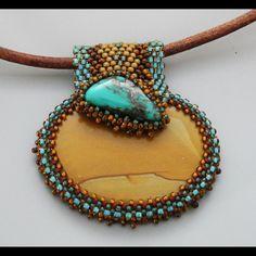 Beaded Cabochon Necklace - Gratitude - Bead Weaving - Statement Necklace - Landscape Picture Jasper