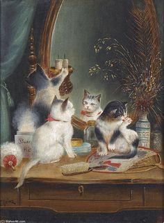 Cats in the Boudoir de Carl Reichert (1836-1918, Germany)