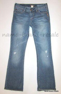 1944e9bf4aeb5 SILVER JEANS PIONEER Womens Juniors 28 x 33 Ripped Distressed Boot Cut Denim   SilverJeans
